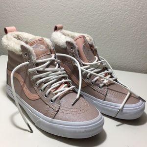 Pink faux fur hightop Vans